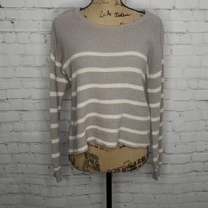 Volcom Grey Striped Boxy Pullover Sweater